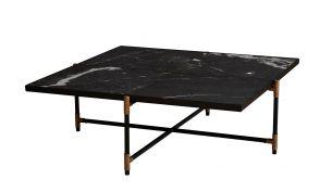 HANDVÄRK Marble Coffee Table 90 - Black / Brass - Black Marble