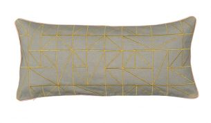 Niki Jones Linear Kissen | 25 x 60 | Chartreuse & Dove Grey