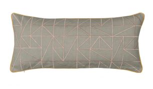 Niki Jones Linear Kissen | 25 x 60 | Dusky Pink & Dove Grey