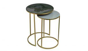 Pols Potten Enamel Side Table | Set of 2 | Green-Grey
