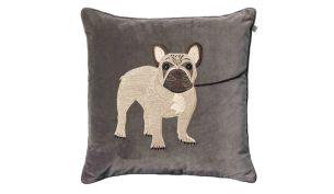 Chhatwal & Jonsson French Bulldog Samtkissen 50 x 50 cm | Grey