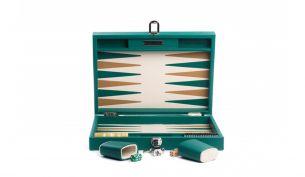 Hector Saxe Basile Buffalo Leder Backgammon Spiel | Medium | Avocado