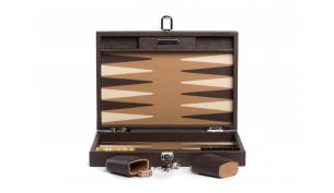 Hector Saxe Basile Buffalo Leder Backgammon Spiel | Medium | Chocolate