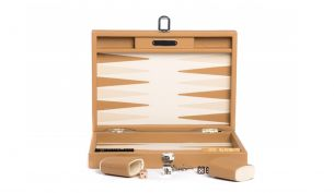 Hector Saxe Basile Buffalo Leder Backgammon Spiel | Medium | Cognac
