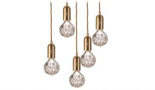 lee broom crystal bulb pendant set 3 polished chrome frosted