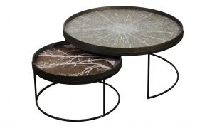 notre monde round tray table set low xl white slice + white tree