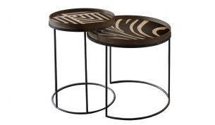notre monde round tray table set high folk + graphite chevron