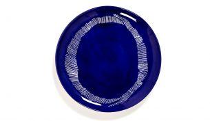 Serax Feast Teller L 26.5 cm | Lapis Lazuli Swirl - Dots White | 2STK
