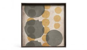 ethnicraft cinnamon layered dots glass square tray L