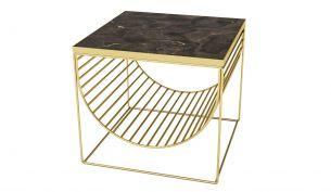aytm sino side table magazine holder gold brown