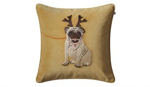 Chhatwal & Jonsson Holiday Dog Samtkissen 50 x 50 | Masala Yellow