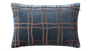Chhatwal & Jonsson Tattersall Samtkissen 40 x 60 cm | Sea Blue/Cognac