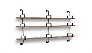 Gubi Demon Shelf 3 Rack Stringers 3 Shelves 215 cm Walnut