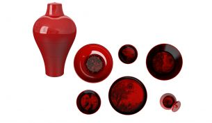 Ibride Ming Vase red