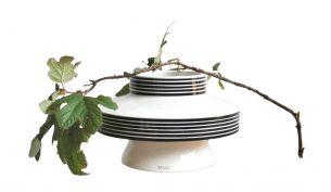 Mani Discus Vase | weiß - schwarz gestreift