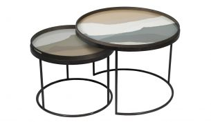 notre monde round tray table set low slate wabi sabi + sand wabi sabi