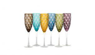 Pols Potten Champagnergläser Blocks 6er Set|Mehrfarbig