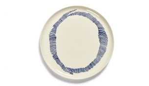 Serax Feast Servierteller 35 cm | White Swirl - Stripes Blue
