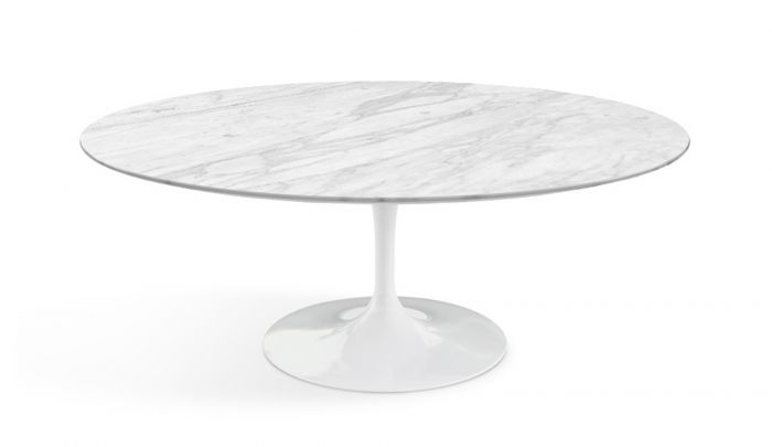 Knoll International Saarinen Tulip Coffee Table Oval H39 X W107 X D70 Marble Statuarietto Dopo Domani